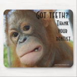 "Brush Your Teeth Dentist Humor Mouse Pad<br><div class=""desc"">This cute mousepad is a fun reminder to brush your teeth.  Dental humor combined with a cute,  curious baby orangutanwith the focus on that beautiful tooth which all dentists and dental hygienists work hard to protect!</div>"