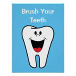 Brush Your Teeth Kids Cartoon Tooth Dentist Office Poster