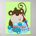 Brush Your Teeth Monkey Bathroom Art Print print