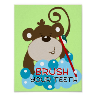 Brush Your Teeth Monkey Bathroom Art Print