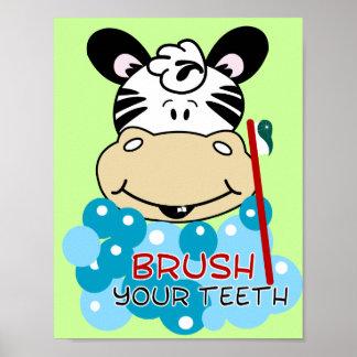 Brush Your Teeth Zebra Bathroom Art Print