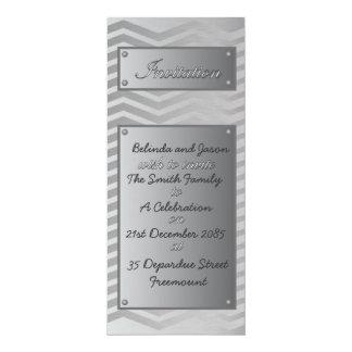Brushed Aluminum Chevron Celebration Invitation