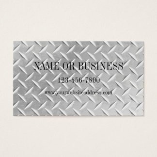Brushed Aluminum Diamond Plate Metal Business Card
