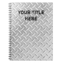 Brushed Aluminum Diamond Plate Metal Notebook