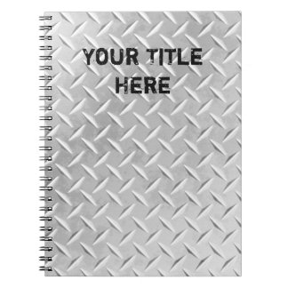 Brushed Aluminum Diamond Plate Metal Notebook