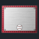 "Brushed Aluminum look Baseball Notepad<br><div class=""desc"">You will love this red brushed aluminum metal look Baseball softball player design. Great for gifts! Available on tee shirts, smart phone cases, mousepads, keychains, posters, cards, electronic covers, computer laptop / notebook sleeves, caps, mugs, and more! Visit our site for a custom gift case for Samsung Galaxy S3, iphone...</div>"