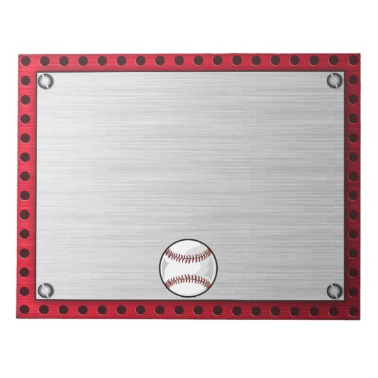 Brushed Aluminum look Baseball Notepad