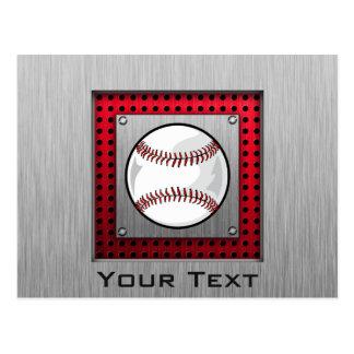 Brushed Aluminum look Baseball Postcard