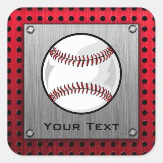 Brushed Aluminum look Baseball Square Stickers