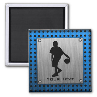 Brushed ALuminum look Basketball Player 2 Inch Square Magnet