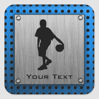 Brushed ALuminum look Basketball Player Square Sticker