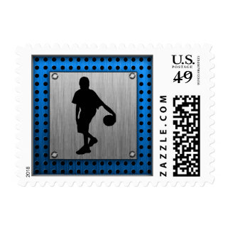 Brushed ALuminum look Basketball Player Stamp