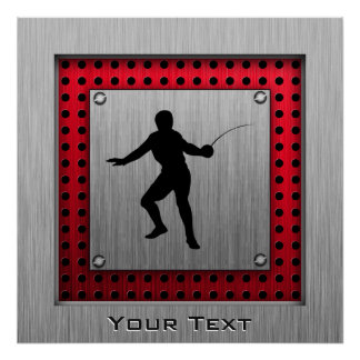 Brushed Aluminum look Fencer Poster