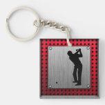 Brushed Aluminum look Golfer Acrylic Key Chain
