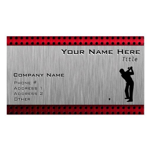 Brushed Aluminum look Golfer Business Card