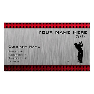 Brushed Aluminum look Golfer Double-Sided Standard Business Cards (Pack Of 100)