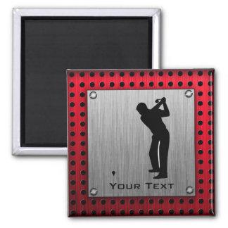 Brushed Aluminum look Golfer Fridge Magnet