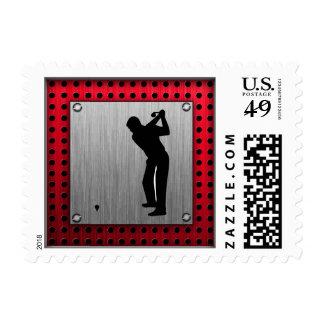 Brushed Aluminum look Golfer Stamp