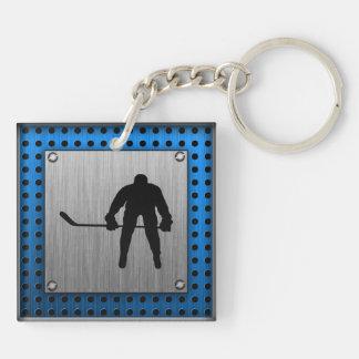 Brushed Aluminum look Hockey Double-Sided Square Acrylic Keychain