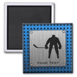 Brushed Aluminum look Hockey Magnet