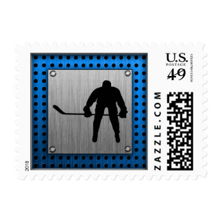 Brushed Aluminum look Hockey Postage