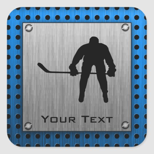 Brushed Aluminum look Hockey Square Sticker