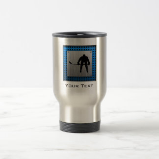 Brushed Aluminum look Hockey Travel Mug