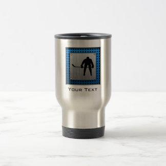 Brushed Aluminum look Hockey Travel Mug