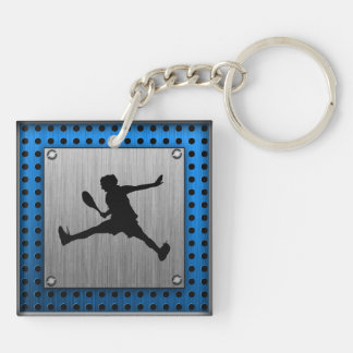 Brushed Aluminum look Tennis Keychain
