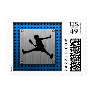 Brushed Aluminum look Tennis Postage Stamps