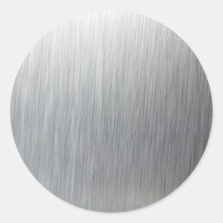 Brushed Aluminum Metal Classic Round Sticker