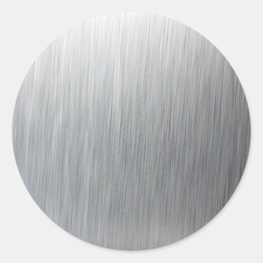 Brushed Aluminum Metal Classic Round Sticker Zazzle Com