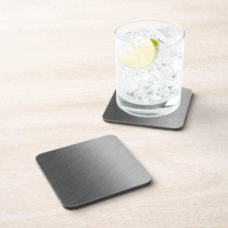 Brushed Aluminum Metal Look Drink Coaster
