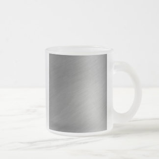 Brushed Aluminum Metal Look Frosted Glass Coffee Mug