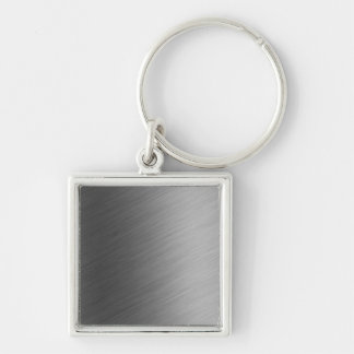 Brushed Aluminum Metal Look Keychain