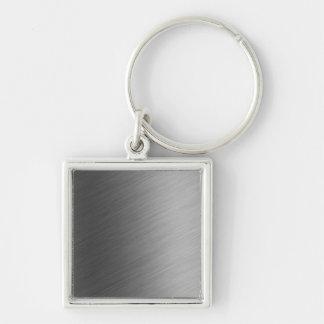 Brushed Aluminum Metal Look Keychain