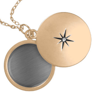 Brushed Aluminum Metal Look Locket Necklace