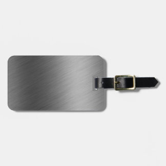 Brushed Aluminum Metal Look Luggage Tag