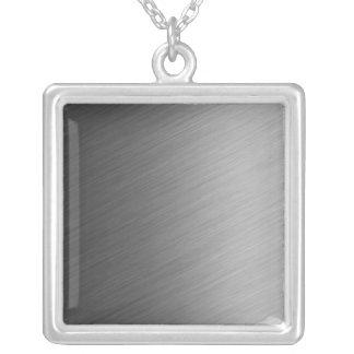 Brushed Aluminum Metal Look Square Pendant Necklace