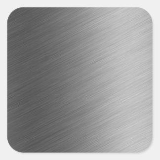 Brushed Aluminum Metal Look Square Sticker