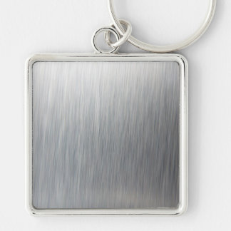 Brushed Aluminum Metal Silver-Colored Square Keychain