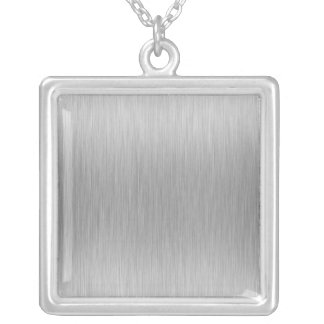 Brushed Aluminum Stainless Steel Textured Silver Plated Necklace