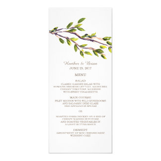 Brushed Branches Wedding Menu Card