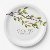 Brushed Branches Wedding Paper Plates