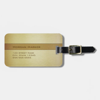 Brushed Brass Gold Bronze Two Shades Custom Name Luggage Tag