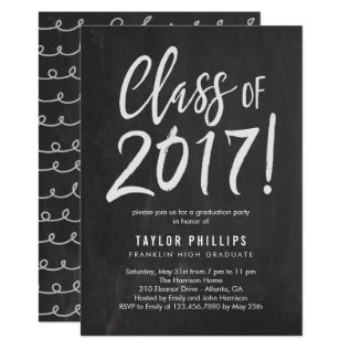 Brushed Chalk Graduation Party Invitation at Zazzle