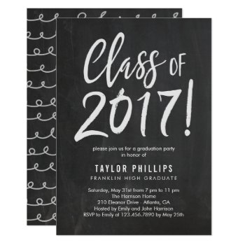 Brushed Chalk Graduation Party Invitation by berryberrysweet at Zazzle