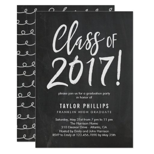Brushed Chalk Graduation Party Invitation