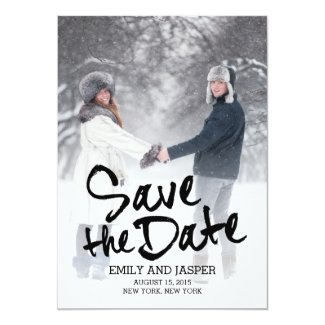 Brushed Charm Save The Date - Black Card