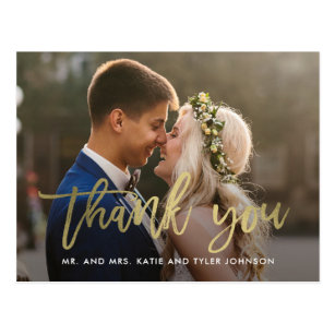 Brushed Charm Wedding Thank You Card Postcard